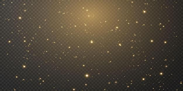 금색 색종이 별이 떨어지고, 빛나는 별이 우주의 빛이 반사되는 가운데 밤하늘을 날아갑니다. 휴일 배경입니다. 마법의 빛.