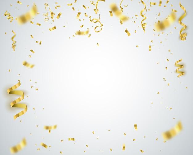 Золотой конфетти векторный фон Premium векторы