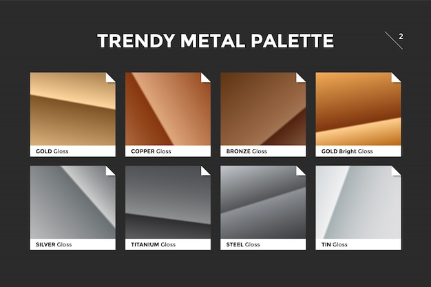 Gold, copper, bronze and silver gradient templates