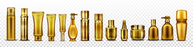 Gold cosmetic bottles mockup, golden cosmetics tubes for essence,