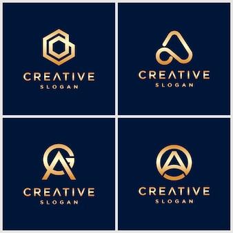 골드 크리에이티브 레터 초기 로고 컬렉션