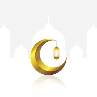 Gold crescent moon and lantern