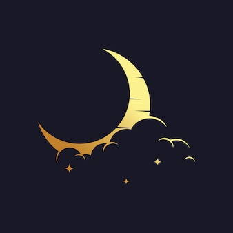 Gold crescent moon logo
