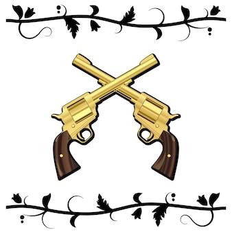 Gold crossed guns isolati su sfondo bianco.