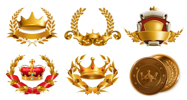 Золотая корона и лавровый венок. 3d векторный логотип