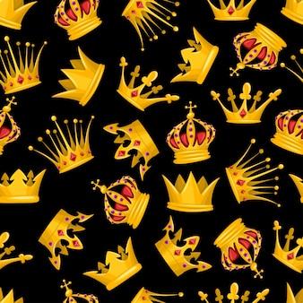 壁紙、ラッピング、パッキング、および背景の黒の背景にゴールドクラウン漫画のシームレスなパターン。