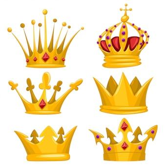 Золотая корона для короля, королевы, принцессы и принца мультяшный набор. коллекция икон королевские атрибуты, изолированные на белом фоне.