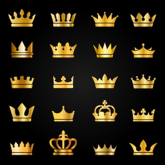 Gold crown icons. queen king crowns luxury royal on blackboard, crowning tiara heraldic winner award jewel  set