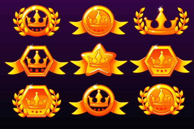 Gold crown icons set for awards for mobile games
