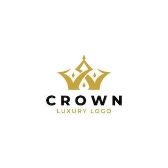 Gold crown retro vintage logo design template