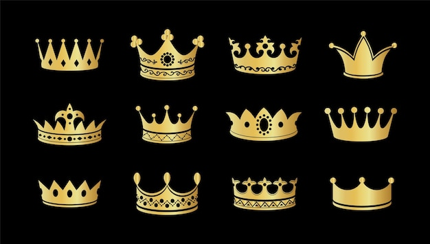 Gold crown silhouette icon set. collections of golden crowns. queen tiara. king diamond coronation crowning. vector illustration