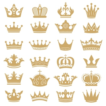 ゴールドクラウンのシルエット。王冠、戴冠式の王と豪華な女王ティアラシルエットアイコンを設定