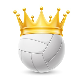 Gold crown on a volleyball ball
