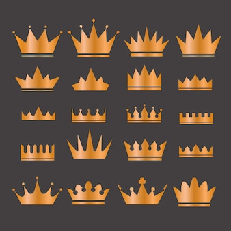 Gold crowns set - set of gold crowns icons. colors in gradients are global. gold crown set. glitters set of king crowns.