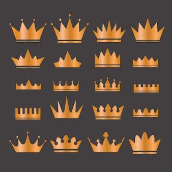 Gold crowns set - набор иконок золотых коронок. цвета в градиентах являются глобальными. золотая корона установлена. блестит множество королевских корон.