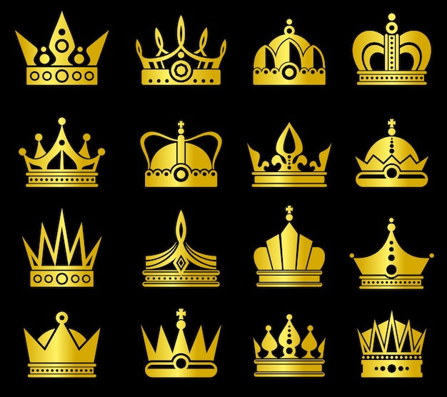 Gold crowns vector set