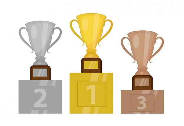 台座のゴールドカップチャンピオン、最初の場所。金、銀、銅のトロフィーが贈られた表彰台。白い背景で隔離されました。図。