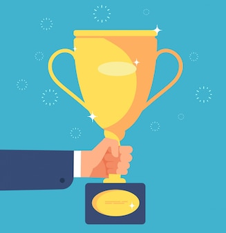 Gold cup in hand. businessman with trophy winner prize goblet. success goals business, achievement vector concept illustration