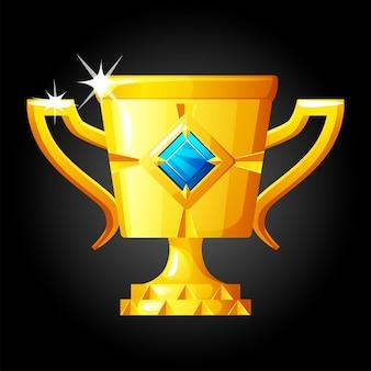 勝者のための宝石が付いている金のコップ。勝利者への宝石を備えたゴールドラグジュアリーアワード。 Premiumベクター