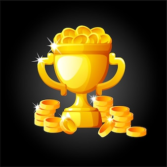 勝者のためのコインとゴールドカップ。チャンピオンのための富のイラストカップ。