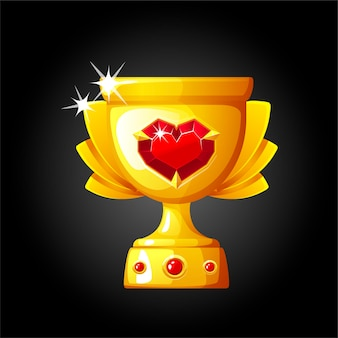 勝者のための宝石の心を持つ金のカップ。貴重なダイヤモンドとゴブレットのイラスト。 Premiumベクター