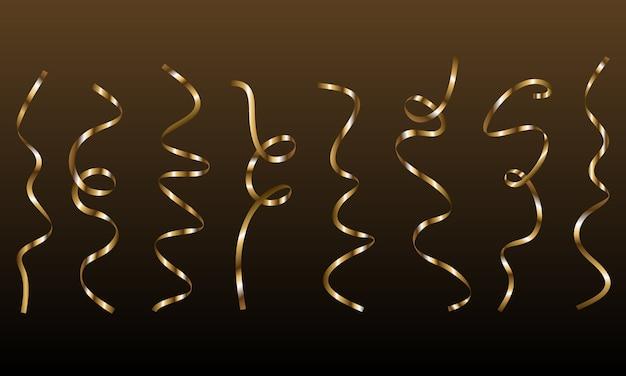 Золотая вьющаяся лента серпантина конфетти. золотые ленты на черном фоне.