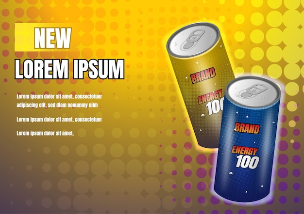 Gold and dark blue energy drinks on yellow background