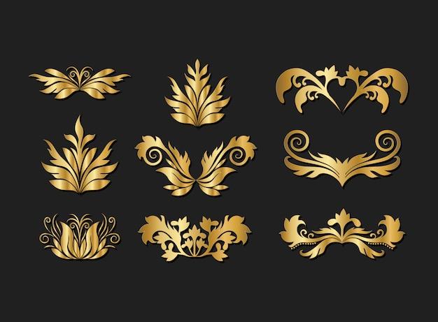 金の装飾的な葉の要素セット