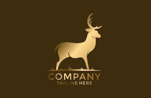 Золотой олень талисман мультфильм логотип