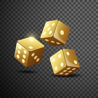 Gold dice on isolated transparent black .
