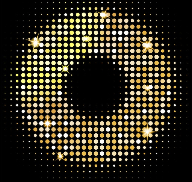 Gold disco lights background. golden shiny mosaic in disco ball style