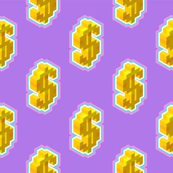 紫色の背景に等尺性のシームレスなパターンでゴールドドル記号。印刷またはwebのベクトルイラスト。 zineポップアートスタイル