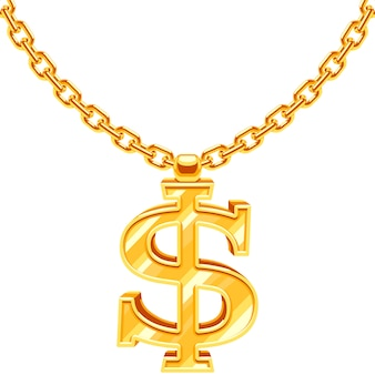 Gold dollar symbol on golden chain hip hop rap style necklace. american money and financial