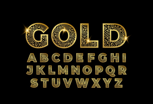 Gold doodle art letters a to z