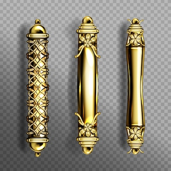 Gold door handles in baroque style, classic ornate luxurious oriental column knobs isolated on transparent background. vintage golden doorknobs, yellow metal jewelry home decor, realistic 3d