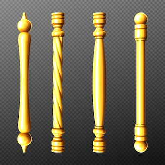 Gold door handles, column and twisted knobs bar shapes isolated on transparent