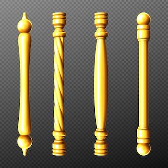 Maniglie per porte oro, colonna e pomoli ritorti sagomati a barra isolati su trasparente
