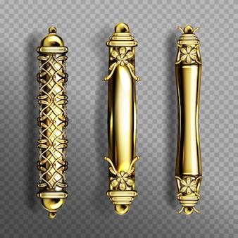 バロック様式のゴールドのドアハンドル、透明な背景に分離されたクラシックで華やかな豪華なオリエンタルコラムノブ。ヴィンテージの金色のドアノブ、黄色の金属製ジュエリーの家の装飾、リアルな3d