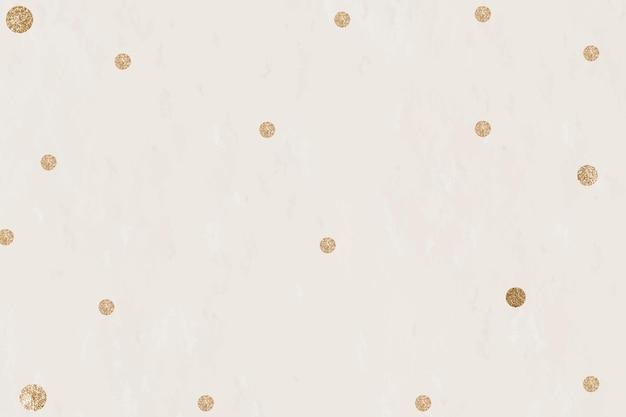 ゴールドドットベージュ背景ベクトル