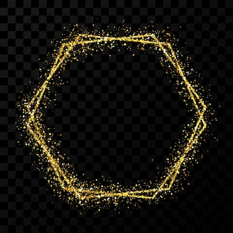 Gold double hexagon frame. modern shiny frame with light effects isolated on dark transparent background. vector illustration.
