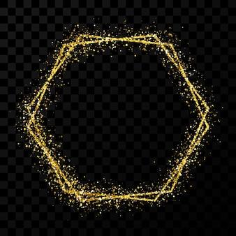 골드 이중 육각 프레임. 어두운 투명 배경에 격리된 조명 효과가 있는 현대적인 반짝이는 프레임입니다. 벡터 일러스트 레이 션. 프리미엄 벡터