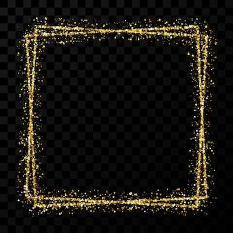 Gold double square frame. modern shiny frame with light effects isolated on dark transparent background. vector illustration.