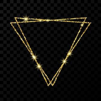 ゴールドのダブルトライアングルフレーム。暗い透明な背景に分離された光の効果を持つモダンな光沢のあるフレーム。ベクトルイラスト。