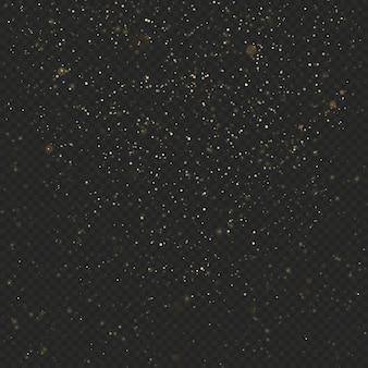 暗い透明な背景にゴールドダストキラキラテクスチャ。紙吹雪の爆発。きらびやかな星。