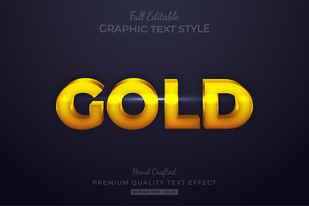 Gold editable custom text style effect premium