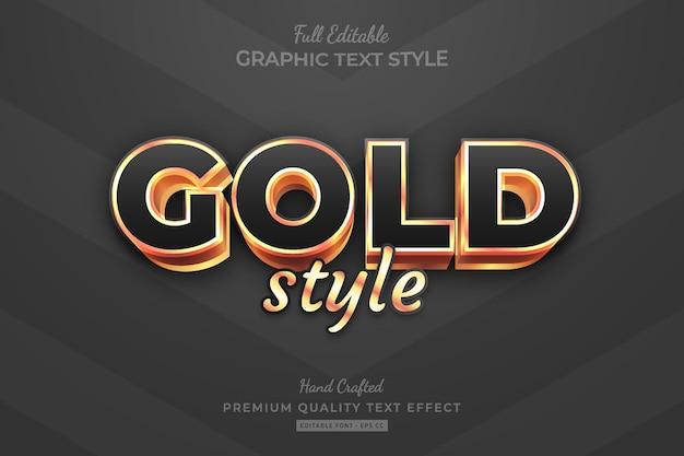 Gold editable premium text effect font style