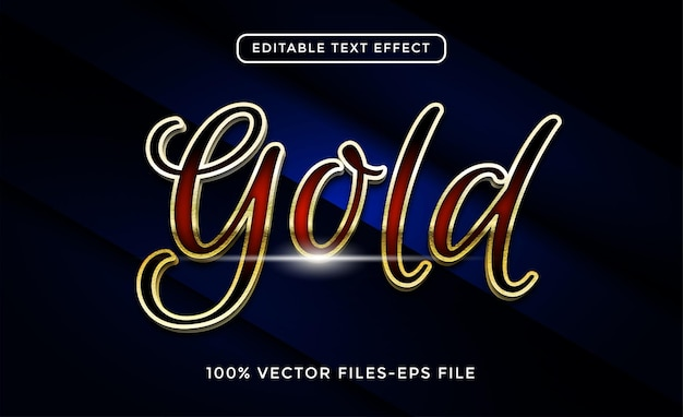 ゴールドの編集可能なテキスト効果プレミアムベクトル