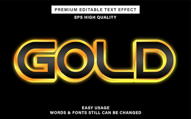 Gold editable text effect