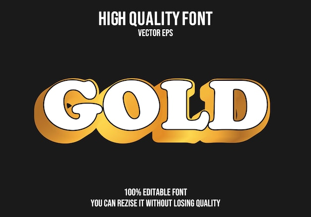 Gold editable text font effect