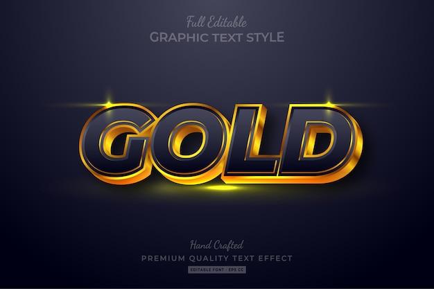 Золотой эффект редактируемого стиля текста премиум